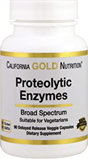California Gold Nutrition Proteolytic Enzymes Broad Spectrum 90 Delayed Release Veggie Capsules, Egg-Free, Gluten-Free, Pe...