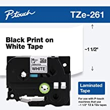 """Brother Genuine P-touch TZE-261 Tape, 1-1/2"""" (1.4"""") Wide Standard Laminated Tape, Black on White, Laminated for Indoor or Outdoor Use, Water-Resistant, 1.4"""" x 26.2' (36mm x 8M), Single-Pack, TZE261"""