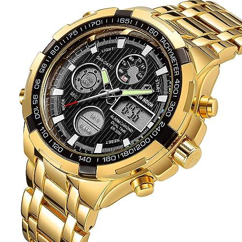 b3f1fc4ea Luxury Fashion Mens Watches Stainless Steel Heavy Sport Chronograph  Waterproof Date Alarm Multifunction Analog Digital Watch