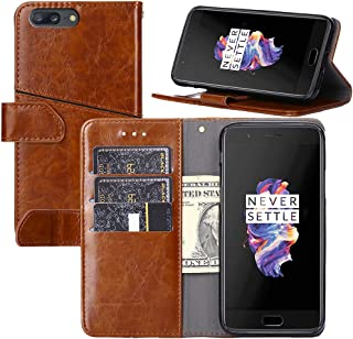 OnePlus 5 Case,OnePlus 5 Wallet Case,Wallet Case for OnePlus 5 [Stand Feature] Protective Quality Leather Flip Cover with Credit Cards Slot,Side Cash Pocket and Magnetic Clasp Closure (Brown)