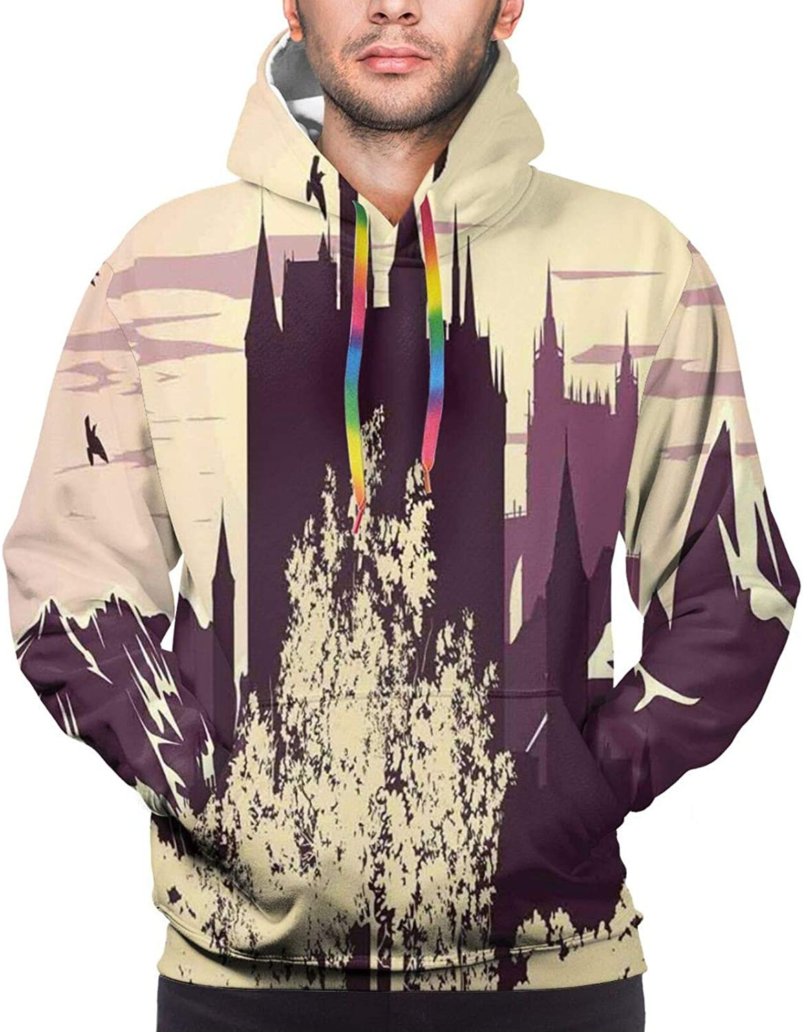 Men's Hoodies Sweatshirts,Castle from Middle Ages with Pink Toned Flags and Thriving Spring Forest Cartoon