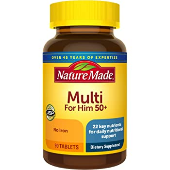 Nature Made Men's Multivitamin 50+ Tablets with Vitamin D, 90 Count for Daily Nutritional Support