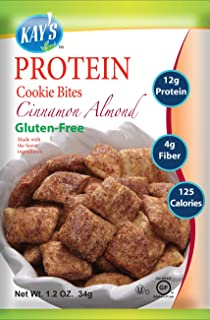 Kay's Naturals Protein Cookie Bites, Cinnamon Almond, Gluten-Free, Low Carbs, Low Fat, Diabetes Friendly, All Natural Flavorings, 1.2 Ounce (Pack of 6)