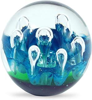 blu//color oro 8 cm Fermacarte // palla di vetro 12525SG Art Deco Home
