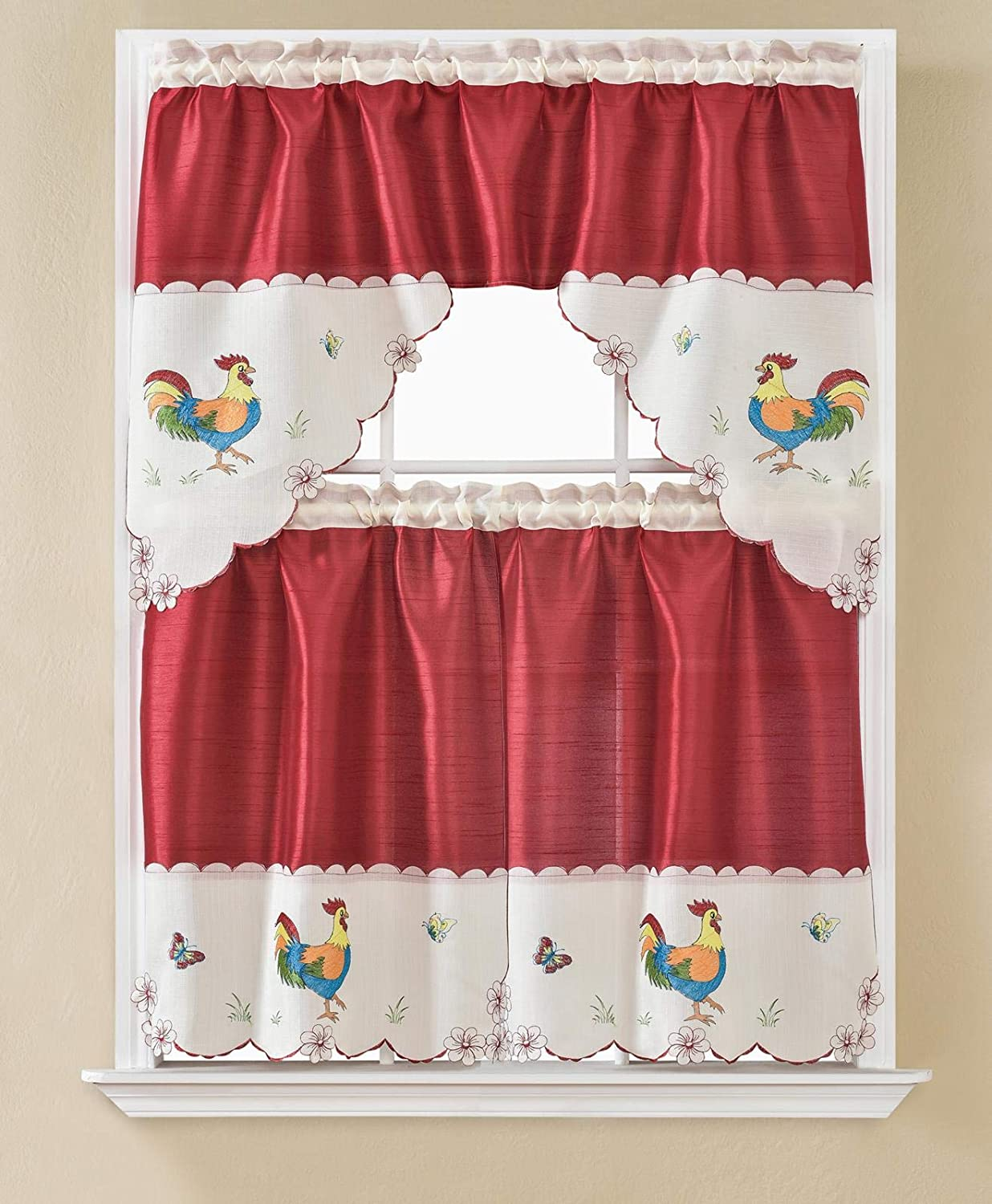 DiamondHome 3 Piece Embroidery Popular products Rooster Window Kitchen Café Cu Don't miss the campaign