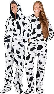 Footed Pajamas - Cowhide Adult Hoodie Fleece Onesie