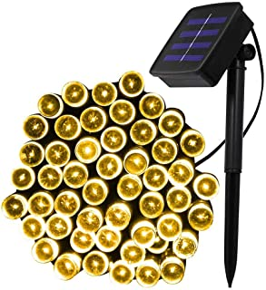 XUNATA 40ft Solar Christmas Light, 100 Units LED 2 Modes Solar Powered Fairy String Lights for Outdoor, Gardens, Homes, Wedding, Christmas Party, Waterproof(Warm White)