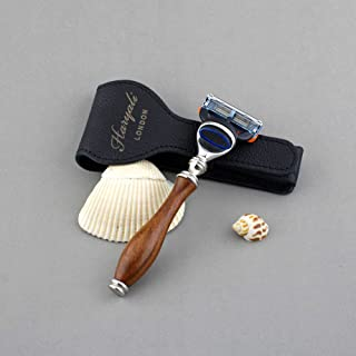 Golarka do golenia dla mężczyzn drewniana 5-krawędziowa kompatybilna męska maszynka do golenia i skórzana torba dla bezpie...