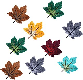 Yiphates Six Color Maple leaves Iron On Patches Embroidered Garment DIY Fabric Flower Motifs, Craft, Sewing, Embroidery Patches, Embroidered Lace Fabric Ribbon Trim Neckline Collar - 6 Pieces