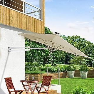 Parasol Montado En La Pared Voladizo Aluminio Led Solar Tela De PoliéSter Plegable TelescóPico Paraguas De RecreacióN Al Aire Libre Patio/JardíN/Terraza LDFZ