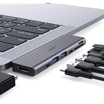 AUKEY USB C Hub MacBook Pro (7 in 1) with 4K HDMI, Thunderbolt 3, 2 USB 3.0, USB-C Data Port and SD/TF Card Reader USB Type C Hub Compatible with MacBook Air and MacBook Pro 2019-2016 (Space Grey)