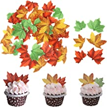 GEORLD Set of 48 Edible Fall Leaves Cake Decorations, Cupcake Topper 3 Colors