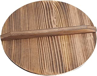 Wood Wok Lid Cover Wooden Lid Kitchen Tool for Cooking Cast Iron Wok Pot Cover(size:32cm)
