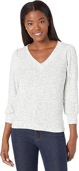Gabriella Madison Brushed Jersey V-Neck 3/4 Sleeve Sweatshirt