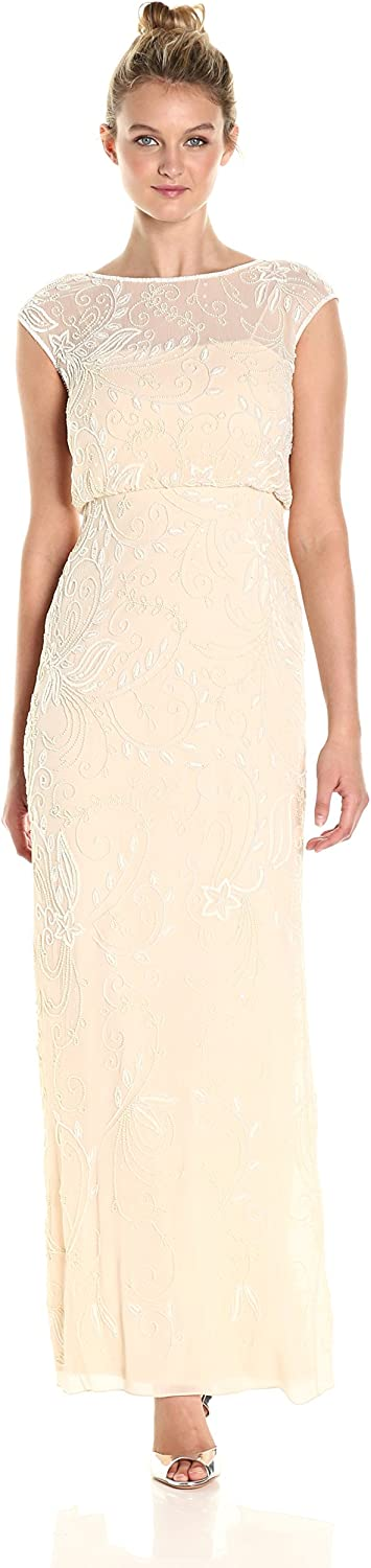 Adrianna Papell Womens Cap Sleeve Beaded Blousson Gown Dress