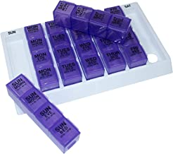 GMS Four-a-Day, Weekly, One Day at a Time, Medication Organizer - Large Slant Tray (Purple Pill Boxes in White Tray)