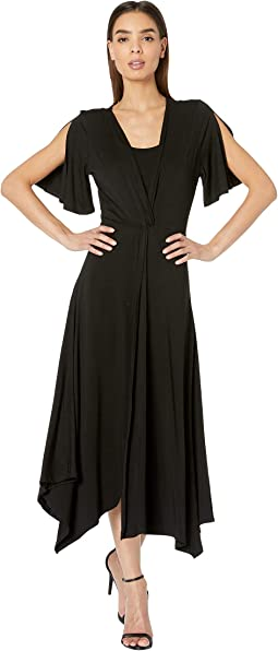 55994552916 Ellen tracy short sleeve dress fit and flare with belt black ...