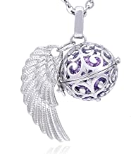 Morella Collar ángel de la Guarda de Acero Inoxidable 70 cm con Colgante alas de ángel y Bola de resonancia de circonita para Damas en Bolsa para Joyas