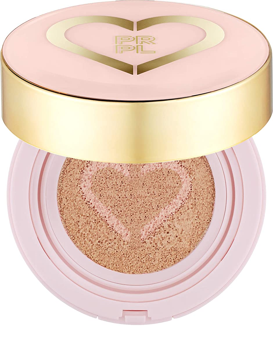 交渉する談話転送PRPL Heart Face Cushion - cover and glow cushion foundation, Korean make-up and skincare cosmetics (#21 Pure Ivory)