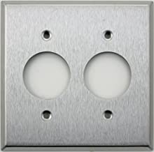 Brushed Satin Stainless Steel 2 Gang Wall Plate - Two 1 3/8