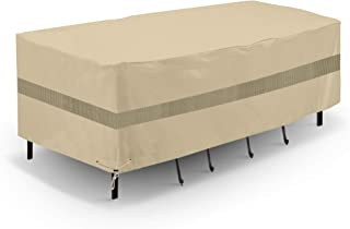 SunPatio Outdoor Table and Chair Cover, Waterproof Rectangular Patio Furniture Set Cover with Sealed Seam, Heavy Duty Dining Table Set Cover 76''L x 46''W x 30''H, All Weather Protection, Beige
