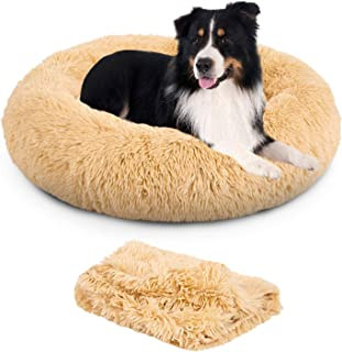 TR pet Calming Dog Bed Cat Ded (L/XL/XXL/XXXL) for Large Medium Small, Faux Fur Pet Bed Self-Warming Donut Pillow, Machine Washable   Removable Blanket   Non-Slip Waterproof Bottom