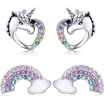Girls 925 Sterling Silver Purple Unicorn Stud Earrings Believe in Unicorns