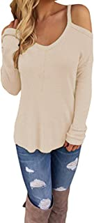 CNFIO Womens V Neck Pullover Sweaters Sexy Cold Shoulder T Shirt Long Sleeve Tops for Women