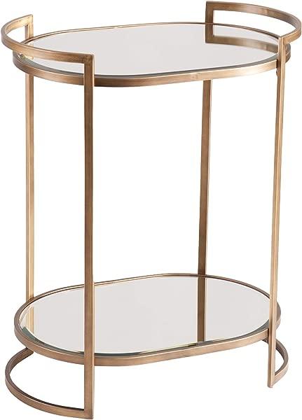 Furniture HotSpot Oval Mirrored Bar Cart Glass Mirror Shelves W Iron Frame Mobile Serving Cart