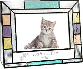 J Devlin Pic 391-46H EP599 Personalized Picture Frame Pet Memorial Colorful Stained Glass Engraved 4x6 Horizontal Photo Frame for Cat or Dog