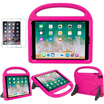 iPad 9.7 2018 / 2017 / Air 1/2 / Pro 9.7 Case for Kids - SUPLIK Duable Shockproof Protective Handle Bumper Stand Cover with Screen Protector for iPad 9.7 inch 5th/6th Generation, Pink