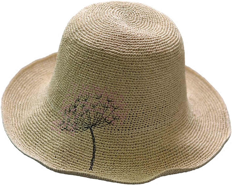 Beach Straw Hat  Seaside Sunscreen Collapsible Embroidery Visor  Extra Fine Handmade Small Fresh Wild Sunshade Female