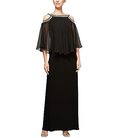 Alex Evenings Long Chiffon Cold-Shoulder Popover Dress