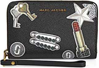 Marc Jacobs Womens Tossed Charms Saffiano Zip Phone Wristlet