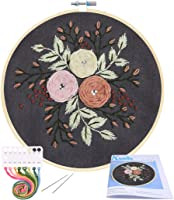 2 Needle Threader 2 Plastic Embroidery Hoop Color Threads and Tools Kit RELIAN Full Range of Stamped Embroidery Kit Including Instructions 2 Pack Embroidery Starter Kit with Pattern