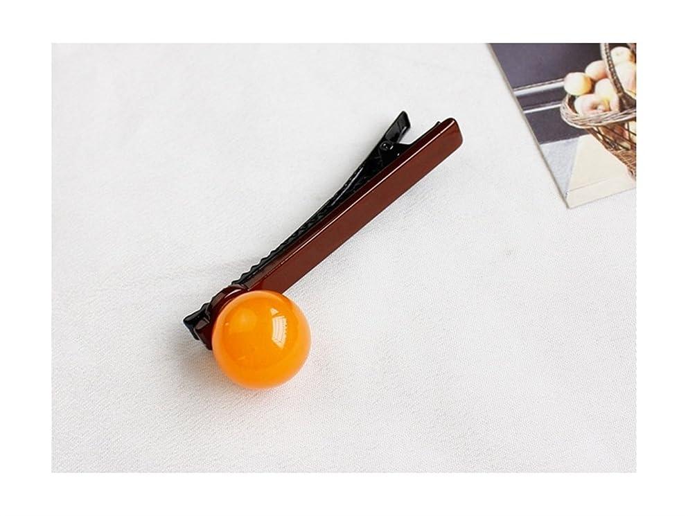 インディカ非アクティブ運ぶOsize 美しいスタイル ラウンドボールキャンディーカラーバングルヘアピンダックビルクリップサイドクリップ(オレンジ+ダークコーヒー)