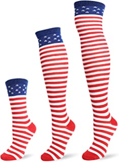 JASMINO Over Knee Long Sock Striped Thigh High Socks Cute Cosplay Costume Cosplay Stockings Flag Long Socks
