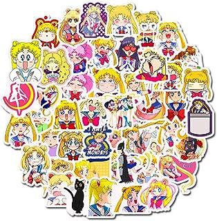 Laptop Stickers Sailor Moon Cute Girls - Decals Vinyl Water Bottle Car Waterproof Bumper Computer Phone Case Book Skateboard Luggage Motorcycle Bike Helmet Decor Graffiti Patches [No-Duplicate] 50 Pac