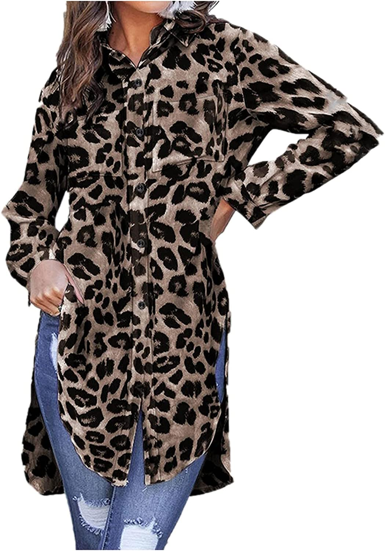 Women's Long Sleeve Shirts Button Down Blouse Leopard Print Long Tunic Tops Loose Casual Side Split Shirt Dress