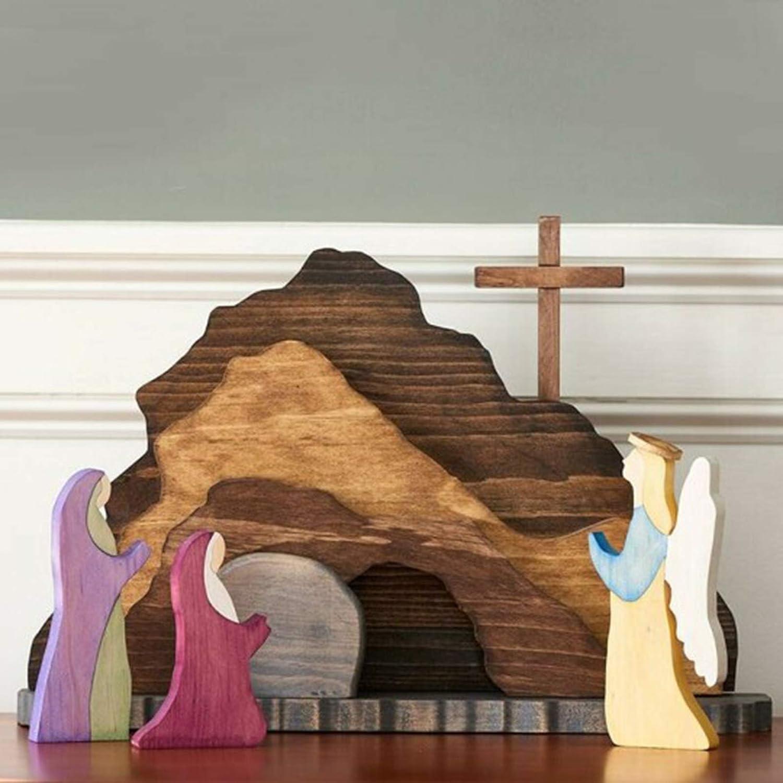 QWERU Easter Resurrection Ultra-Cheap Deals Scene Decor Wooden Decoration W Choice