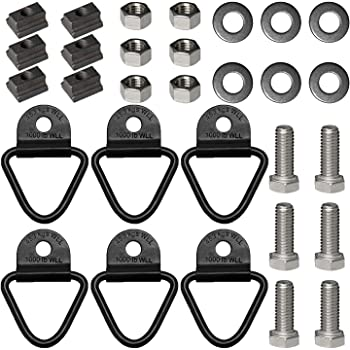 "Bed Deck Rails Cleat T Slot Nuts Fits Screws with 3/8""-16 Thread 6PCS,Stainless 3/8-16 X 1 Hex Head Bolts 6PCS, Tie Down Anchors Rings Trailers Hook Cargo Bolt 6PCS for Toyota Tundra & Toyota Tacoma"
