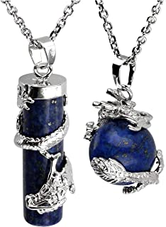 Jovivi 2pc Dragon Wrapped Round Ball Cylinder Gemstone Healing Crystal Pendant Necklaces Set