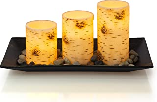 Dawhud Direct Birch Bark Candlescape Set, 3 LED Flickering Flameless Wax Candles, Decorative Tray, Rocks & Remote Control