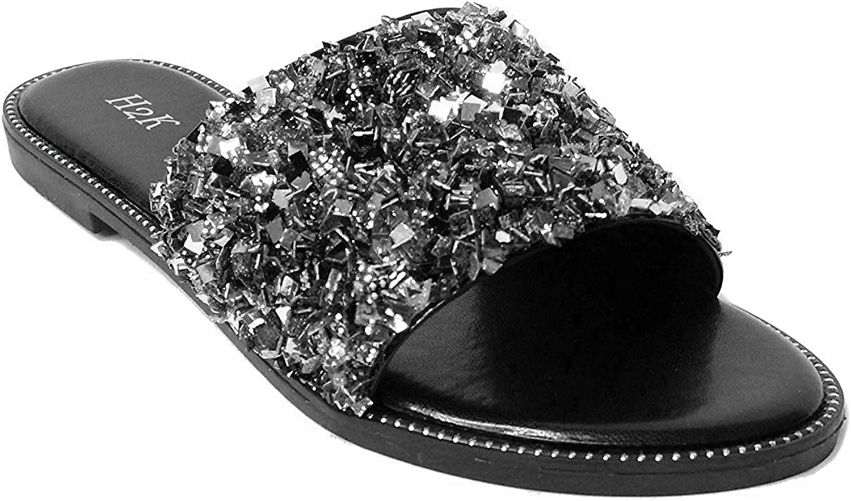 H2K Womens Glitter Bling Fancy Slide Flat Low Wedge Sparkle Sandals Shoes Dream