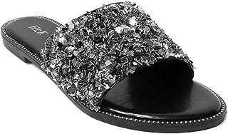 Womens Glitter Bling Fancy Slide Flat Low Wedge Sparkle Sandals Shoes Dream