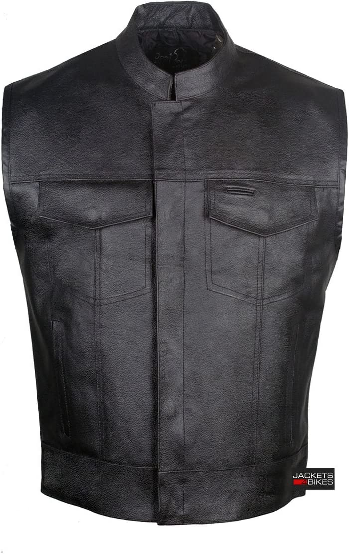 SOA Sons of Anarchy Men's Leather Vest TWO Concealed Carry Pockets Outlaws L