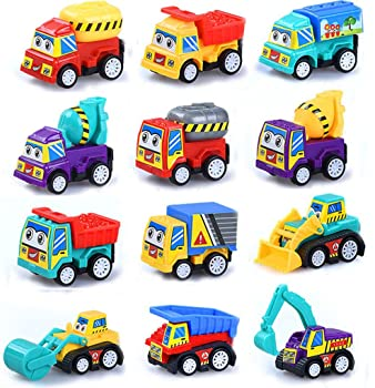 M-jump Pull Back Vehicles , 12 Pack Assorted Construction Vehicles Toy , Vehicles Truck Mini Car Toy For Kids Toddler...