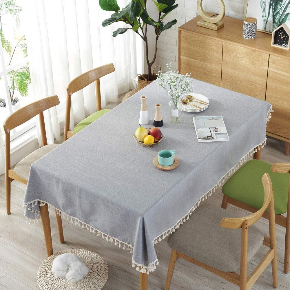 meioro Mantel Borla de Color sólido Mantel Algodón Mantel Rectangular Adecuado para La Decoración De La Cocina Casera Varios Tamaños
