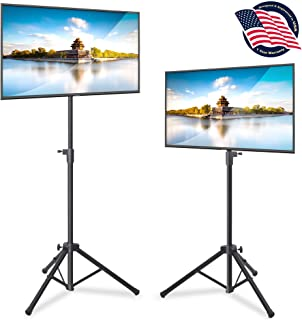"Pyle LED TV Tripod Stand - 2 Pcs Portable TV Stand, Foldable TV Stand Mount, Fits LCD Flat Panel Screen TV Up to 32"" w/Adjustable Tilt & Height, 22lbs Weight Capacity, VESA 75, 100 - PTVSTNDPT3215X2"