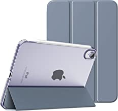 MoKo Case Fit New iPad Mini 6 2021 (6th Generation, 8.3-inch) - Slim Lightweight Hard Clear Back Shell Stand Cover with Translucent Frosted Back Protector, with Auto Wake/Sleep, Grey Purple